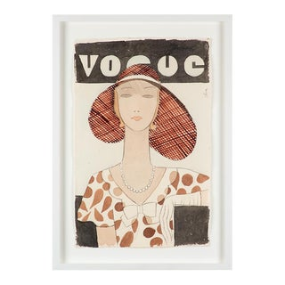 """""""Vogue Cover 2"""" Contemporary Figurative Watercolor Painting by Eduardo Oliva, Framed For Sale"""
