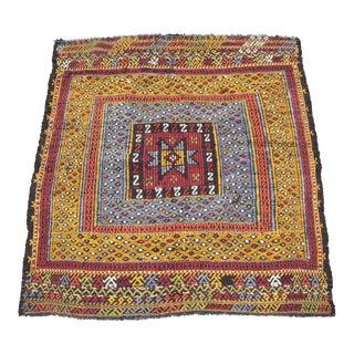 Tribal Vintage Vivid Color Cicim Kilim Rug - 3′4″ × 3′5″ For Sale