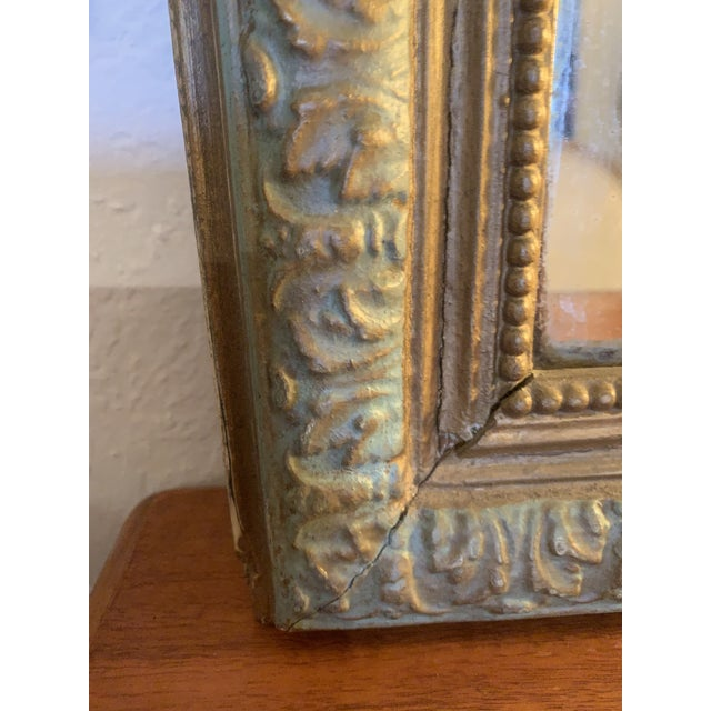 1880 Antique French Charles X Style Green and Gold Painted Wall Mirror For Sale - Image 10 of 12