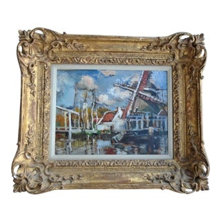 """Early 20th Century """"Canal a Bixnude"""" French Impressionist Oil Painting, Framed For Sale"""