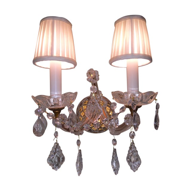 French Crystal Sconces - Pair - Image 1 of 6