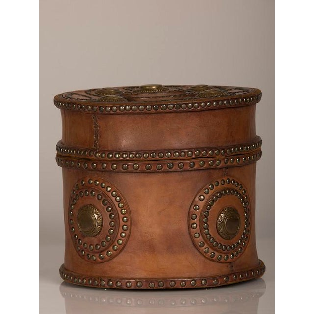 Large Antique Italian Leather Box with Decorative Brass Studs circa 1900 For Sale - Image 4 of 7