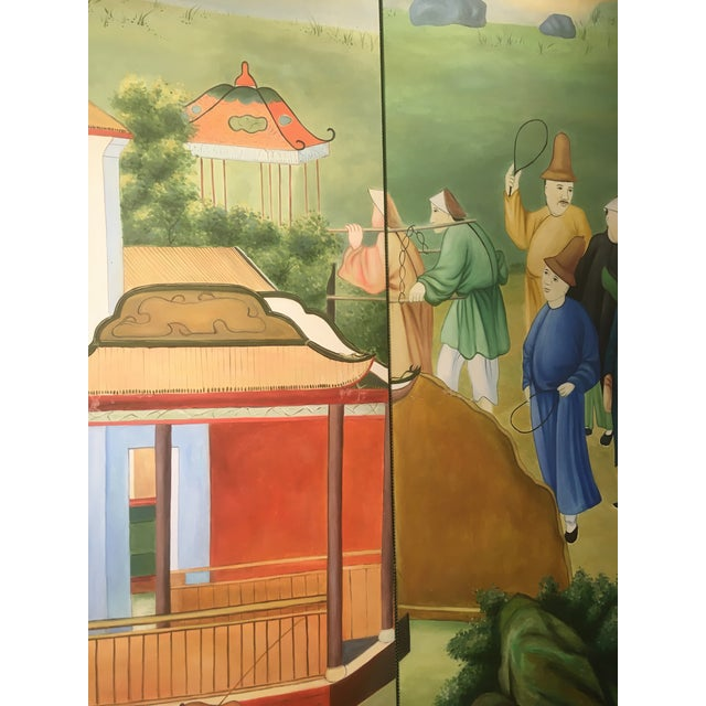 Canvas Chinoiserie Mural Painting on Panels For Sale - Image 7 of 13