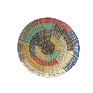 "Handmade Woven Wolof Basket From Senegal 19"" in Diameter For Sale"