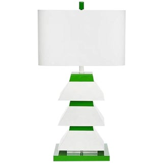 "Pair of Green & White Erzi 29"" Pagoda Lamps For Sale"