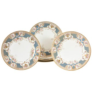 Pretty Turquoise and Rose Pink Dinner Plates, Antique, Circa 1900 For Sale