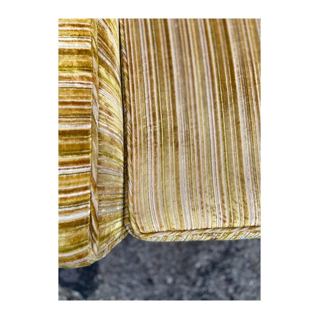 Wood Mid-Century Modern Yellow Striped Variegated Velvet Sofa For Sale - Image 7 of 13