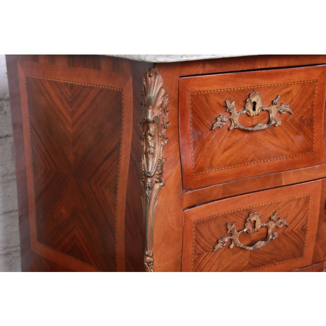 Louis XV Style Inlaid Mahogany Marble Top Nightstands or Commodes, Pair For Sale - Image 10 of 13