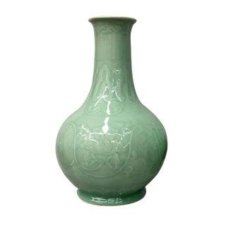 Floral Celadon Vase