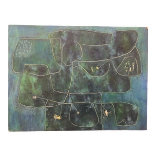 Blue Wall Mid-Century Modern Oil Painting by James Bone 1964 For Sale