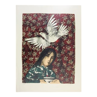 White Dove & Figure Lithograph For Sale