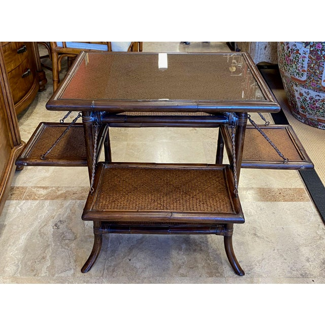Asian Asian Rattan End Table With Drop Shelves For Sale - Image 3 of 12