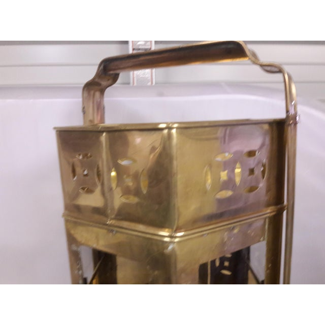 Mid-Century Brass Asian Noodle Cart Malaysian Brass Plant Stand Side Tables For Sale - Image 9 of 11