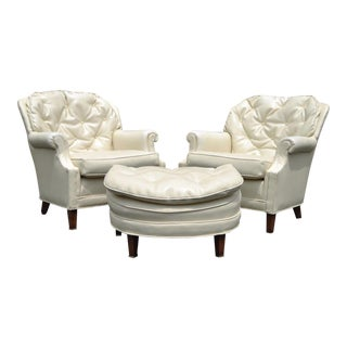 Pair Vintage Hollywood Regency Tufted Club Lounge Chairs & Ottoman Modern For Sale
