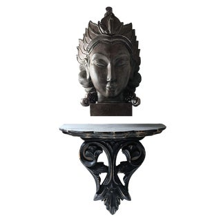 Carved Ebonized Decorative Wood Wall Shelf and Buddah Head Bust - 2 Piece Set For Sale