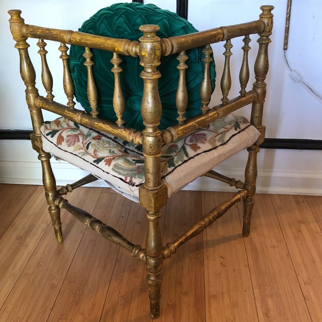 Antique Embroidered Corner Accent Chair - Image 7 of 11