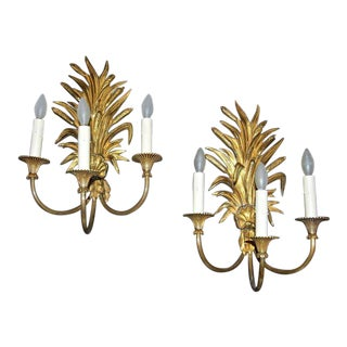 Maison Charles French Wheat Roseaux Gilt Bronze Wall Sconces - a Pair