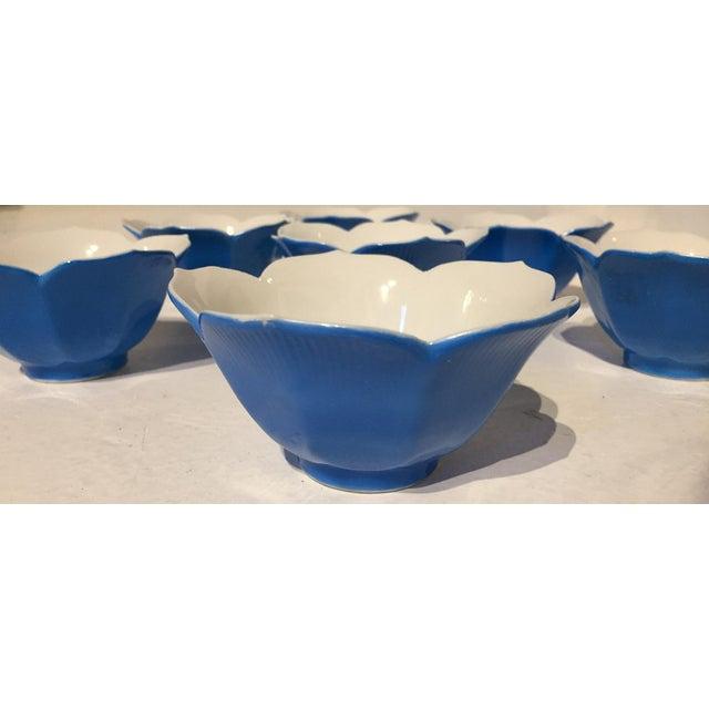 Mid-Century Blue Lotus Leaf Serving Bowls - Set of 7 - Image 3 of 6