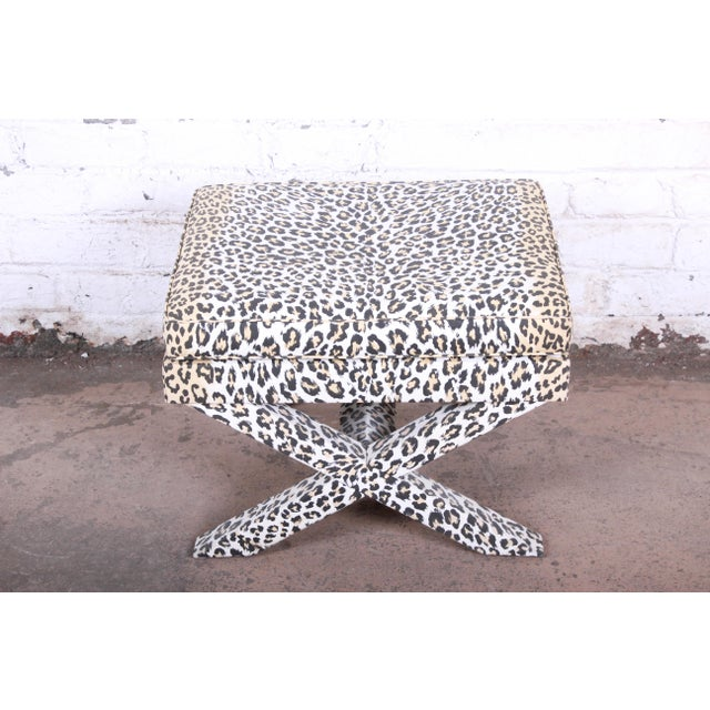 French x-base leopard stool or ottoman Designed by Patrick Frey Paris, France, Circa 1990s Custom leopard print upholstery...