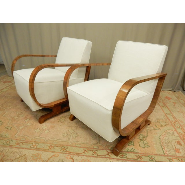 Wood Pair of Northern European Art Deco Arm Chairs For Sale - Image 7 of 7