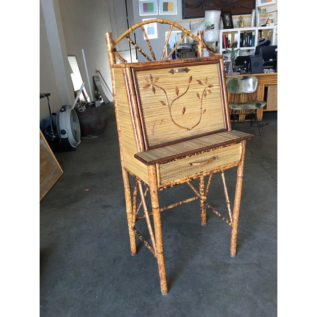 Aesthetic Movement Aesthetic Movement Restored Tiger Bamboo Secretary Desk For Sale - Image 3 of 10