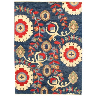 "Pasargad N Y Suzani Design Lamb's Wool Rug - 5'7"" X 7'6"" For Sale"