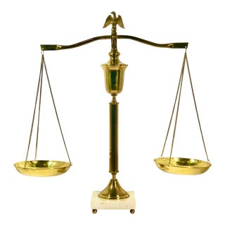 Vintage Brass and White Marble Scales of Justice With Eagle Finale For Sale