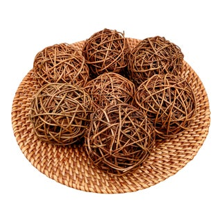 Organic Modern Wicker Bowl + Woven Twig Spheres, Set of 8 For Sale