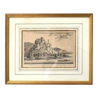 Antique Napoleonic French Engraving of the Chateau Gaillard For Sale
