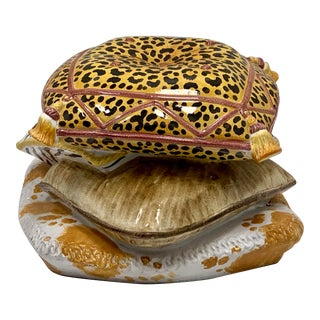 Terracotta Leopard Stacked Pillow Garden Seat / Table For Sale