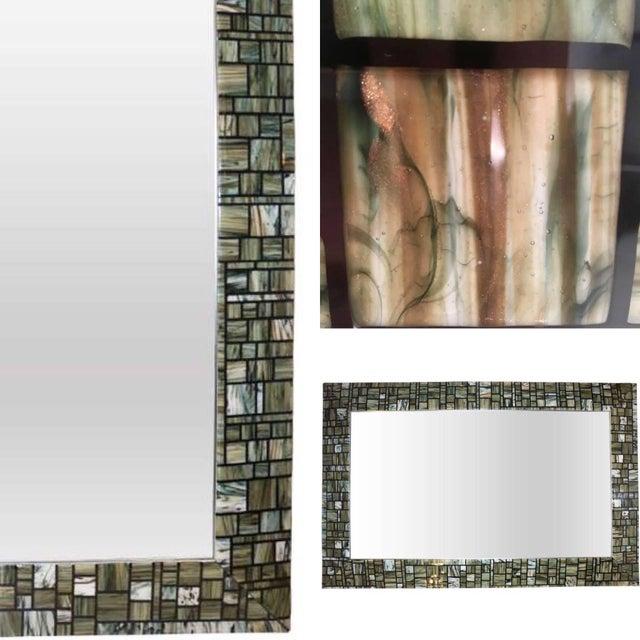 White Modern Italian Green, Cream, Caramel, White and Black Murano Glass Mosaic Mirror For Sale - Image 8 of 9