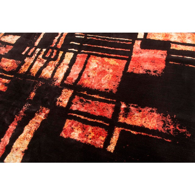 Abstract Hand Knotted Mid-Century Fire Inspired Wool and Silk Rug For Sale - Image 3 of 7