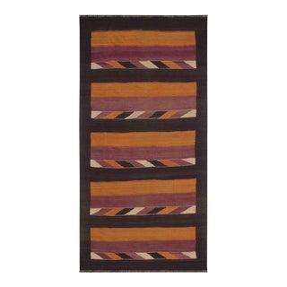 Antique Turkish Tribal Kilim Tiny Orange Brown Hand-Woven Area Rug For Sale