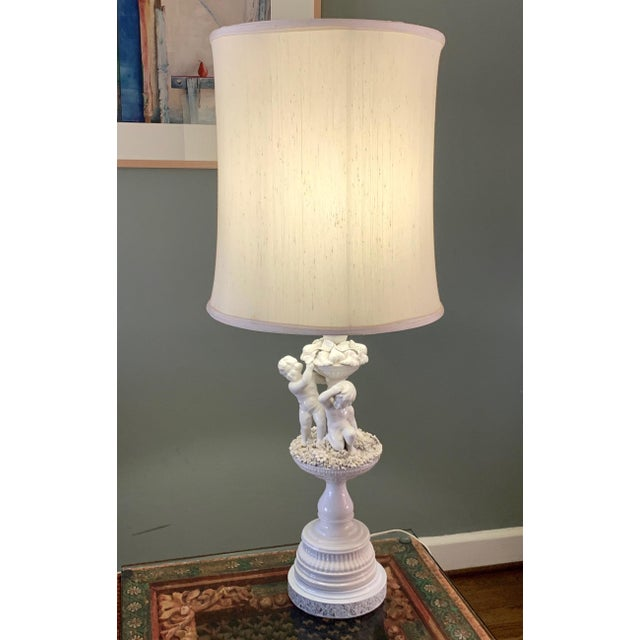 Vintage Porcelain Cherub With Floral Table Lamp For Sale - Image 4 of 9