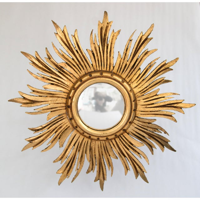 Gold Antique French Giltwood Sunburst Convex Mirror For Image 8 Of