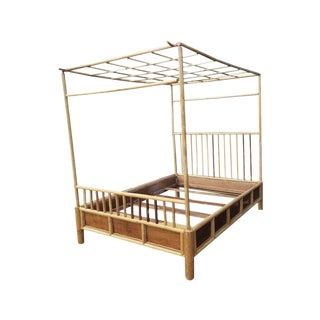 1960s Boho Chic Rattan Canopy Bedframe For Sale
