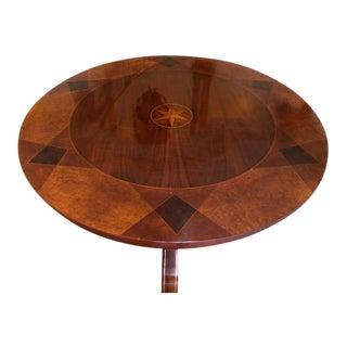 1990s Regency John Widdicomb Round Mahogany/Burl Center/Dining Table For Sale