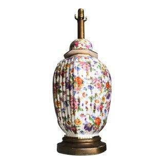 1950s Mid-Century Continental Fine Porcelain Floral Ginger Pot Lamp