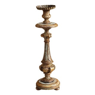 18th Century Portuguese Baroque Gold Leafed Candlestick For Sale