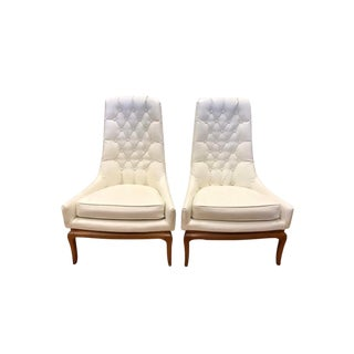 Mid Century Widdicomb Robsjohn-Gibbings Quilted White Tufted Tall Chairs - a Pair For Sale