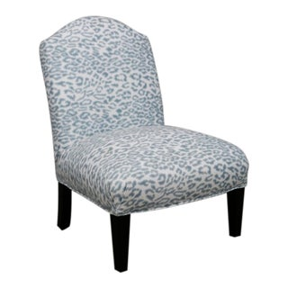 Modern Blue and White Leopard Print Custom Made Accent Chair For Sale
