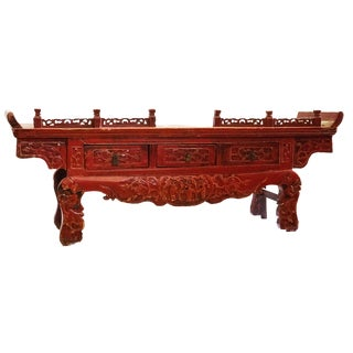 """19th C Chinoiserie Red Lacquer Wood Low Altar Table17.25"""" H by 45.5"""" W For Sale"""