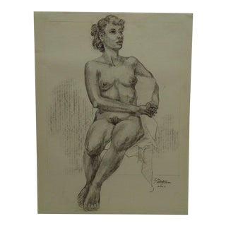 "Original Drawing Sketch ""Statue Pose"" by Tom Sturges Jr., 1951"