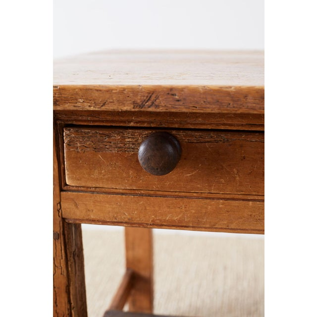 Rustic English Pine Library Table or Farm Table For Sale - Image 9 of 13