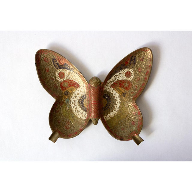 Mid 20th Century Painted Brass Butterfly Trinket Dish For Sale - Image 5 of 5