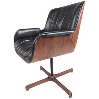 Mid-Century Modern Swivel Leather Armchair For Sale
