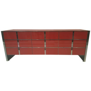 Amazing Ello Dresser With Red Painted Glass For Sale