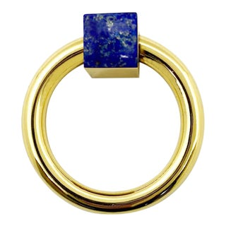 Addison Weeks Porter RIng Pull, Brass & Lapis For Sale