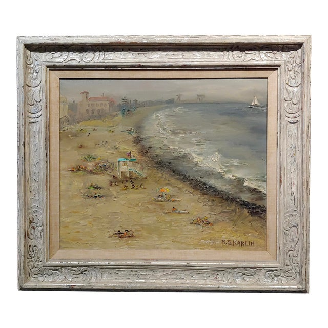 R. S. Karlin - Santa Monica Beach - 1960s Mid Century Oil Painting Mid Century For Sale