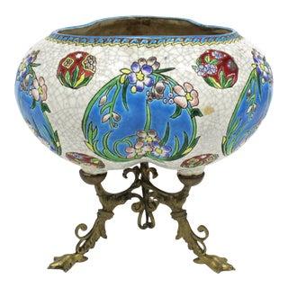 Art Nouveau Porcelain & Brass Vase in Longwy Style For Sale